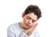 El gesto el dormir del caucásico liso-peló al muchacho con acné-propenso Fotos de archivo libres de regalías