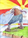 El gigante mira más allá del acantilado libre illustration