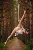 El gimnasta aéreo hermoso y agraciado hace ejercicios en el anillo Foto de archivo libre de regalías