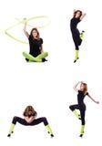 El gimnasta joven que ejercita en blanco Fotos de archivo
