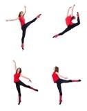 El gimnasta joven que ejercita en blanco Imagen de archivo