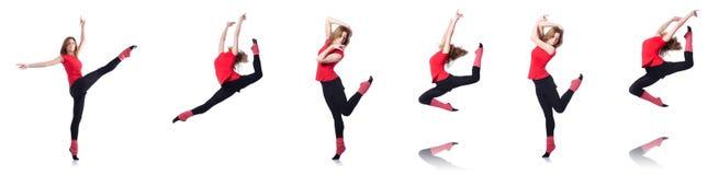 El gimnasta joven que ejercita en blanco Foto de archivo libre de regalías