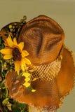 El girasol adornó el sombrero del heno, un resplandor con el luz de oro que la oscuridad trae a la granja Foto de archivo libre de regalías