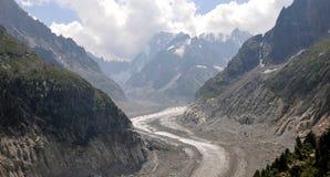 El glaciar francés el Mer de Glace en el macizo de Mont Blanc fotos de archivo libres de regalías