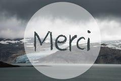El glaciar, lago, los medios franceses de Merci del texto le agradece foto de archivo