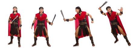 El gladiador con la espada aislada en blanco Fotos de archivo libres de regalías