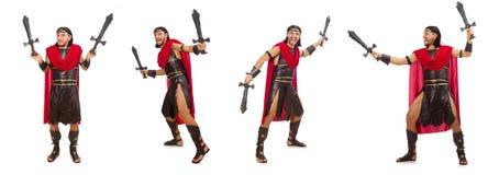El gladiador que sostiene la espada aislada en blanco Imagen de archivo libre de regalías