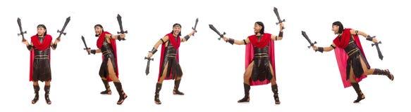 El gladiador que sostiene la espada aislada en blanco Imagen de archivo