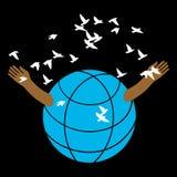 El globo abre los brazos de los pájaros de la multitud ilustración del vector