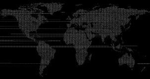 el globo azul de la tierra del mapa de la representación digital 3d, con resplandor puntea el punto de conexión y, medios globali