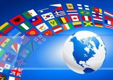El globo con muchos señala la bandera por medio de una bandera Imágenes de archivo libres de regalías
