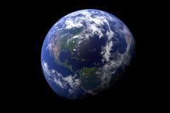 El globo de la tierra del espacio en mostrar el terreno y las nubes Opini?n de alta resoluci?n de la tierra del planeta 3d rinden libre illustration