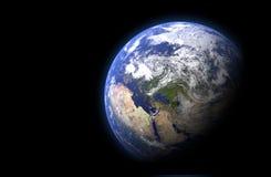 El globo de la tierra en fondo negro Opini?n de alta resoluci?n de la tierra del planeta 3d rinden la ilustraci?n Los elementos d libre illustration