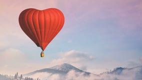 El globo del aire caliente photgrphed en el Bealton, demostraci?n de aire del circo del vuelo del VA Mosca roja del corazón en ci libre illustration