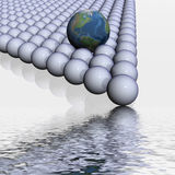 El globo entre esferas. ilustración del vector