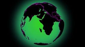 El globo giratorio del planeta de la tierra de Loopable con con rojo alineó al huésped