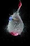 El globo llenado de agua se hace estallar con el dardo para hacer un lío Fotografía de archivo libre de regalías