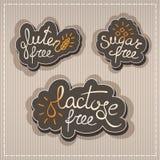 El gluten, lactosa, azucara etiquetas libres Fotos de archivo libres de regalías