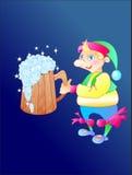 El gnomo con la cerveza stock de ilustración