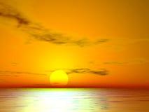 El Golden Sunset. Golden sunset over the sea Stock Photo