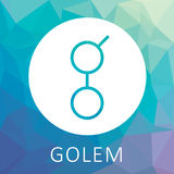 El Golem GNT decentalized el logotipo mundial del vector del superordenador y del criptocurrency Imagen de archivo