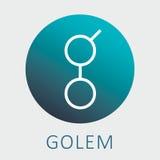 El Golem GNT decentalized el logotipo mundial del vector del superordenador y del criptocurrency Imagenes de archivo