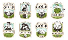 El golf fijó 12 logotipos Fotografía de archivo libre de regalías