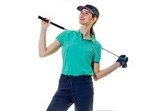 El golfing del golfista de la mujer Foto de archivo libre de regalías