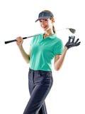 El golfing del golfista de la mujer aislado Imagen de archivo