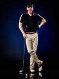 El golfing del golfista del hombre aislado Fotos de archivo