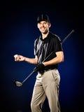 El golfing del golfista del hombre aislado Foto de archivo