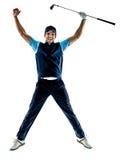 El golfing del golfista del hombre aislado con el fondo Foto de archivo