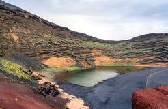 El Golfo bay on the Atlantic Ocean. Lanzarote. Canary Islands Stock Photography