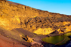El Golfo bay with volcanic pool on Lanzarote island Royalty Free Stock Images