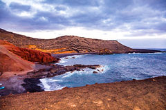 El Golfo beach in dusk Royalty Free Stock Photos
