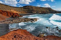 El Golfo black sand beach Royalty Free Stock Photo
