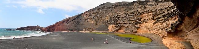 El Golfo crater, Lanzarote. El Golfo - a crater half flooded by sea, Lanzarote Royalty Free Stock Images
