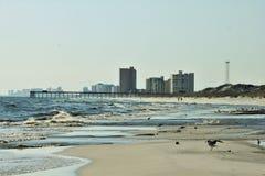 El Golfo de México cerca de la playa de ciudad de Panamá del embarcadero de la playa de la puesta del sol fotografía de archivo libre de regalías
