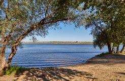 El golfo de Volga a través de árboles Foto de archivo libre de regalías