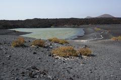 El golfo lake, lanzarote, canaria islands stock image