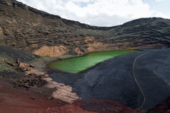 El Golfo lake, Lanzarote, Spain Stock Photo