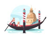 El gondolero transporta a la mujer en góndola stock de ilustración