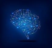 El gráfico abstracto del cerebro con el rastro y el punto enciende actividad Fotos de archivo libres de regalías