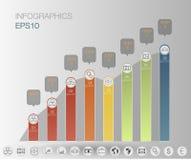 El gráfico de Infographics, negocio de 8 pasos, finanzas del gráfico + fijó el icono Plantilla de Infographics Imagen de archivo libre de regalías
