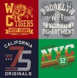 El gráfico de la camiseta del vintage fijó 2 stock de ilustración