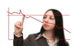 El gráfico de la mujer de negocios muestra el crecimiento Fotos de archivo