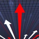 El gráfico de las flechas muestra el informe sobre la marcha de los trabajos y el análisis Imagen de archivo