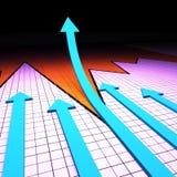 El gráfico del éxito significa el informe sobre la marcha de los trabajos y el análisis Fotografía de archivo