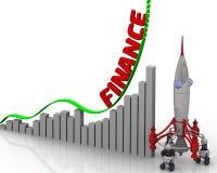 El gráfico del crecimiento de las finanzas Fotografía de archivo