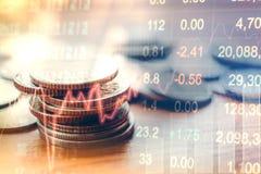 El gráfico del mercado de acción acuña, análisis financiero Abstra del indicador Imagen de archivo